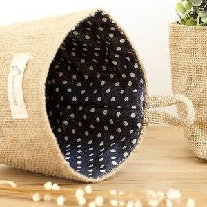 Image 3 - Cesta de almacenamiento de bolsillo colgante para decoración del hogar, saco pequeño, organizador de artículos diversos, organizador de cosméticos, bolsa de almacenamiento de lino y algodón