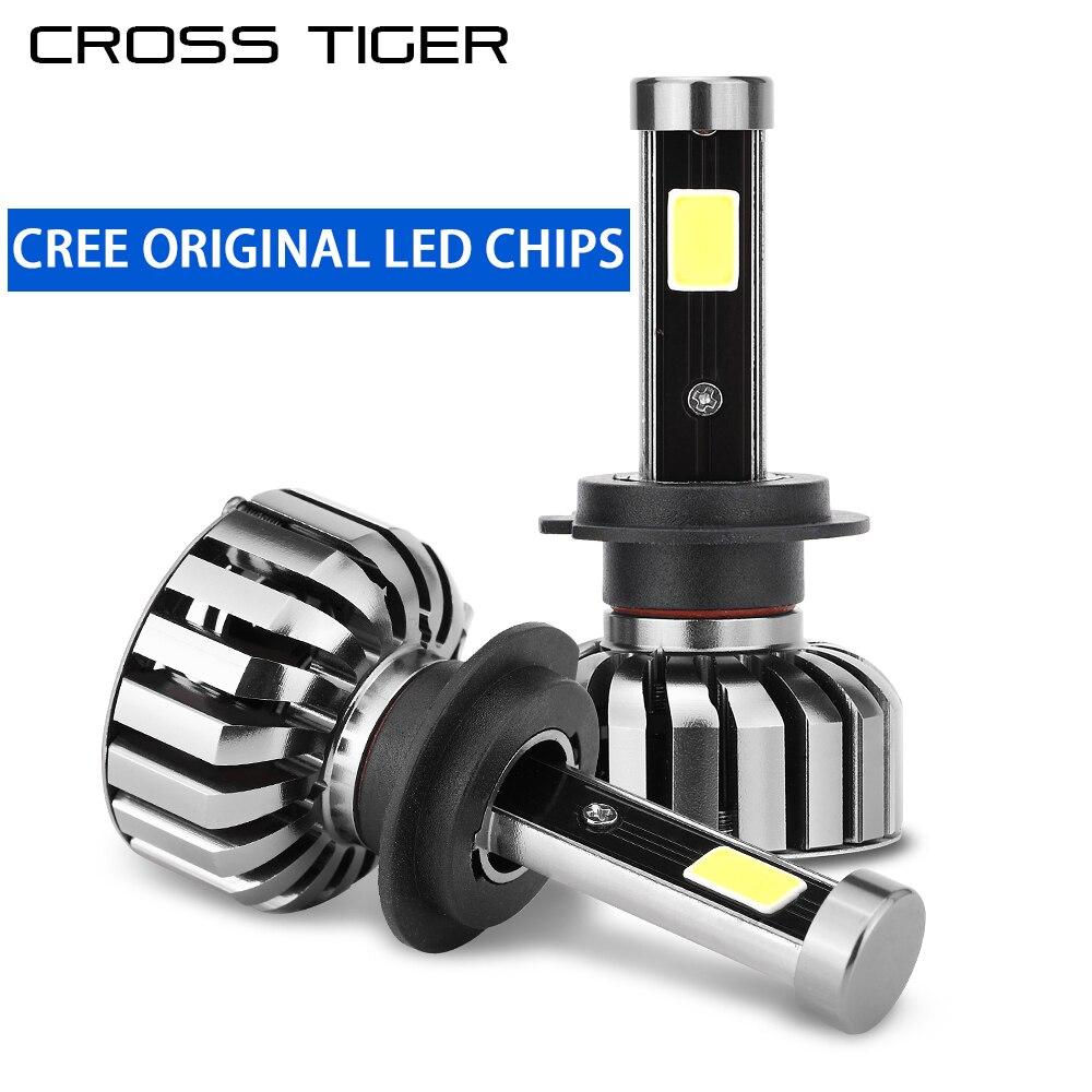 CROSS TIGER N7 Car LED Headlight 8000LM/Pair 6000K Auto Bulb Light H1 H3 880 H7 H11 9005 9006 H4 H13 9004 9007 Car Styling Lamp 12v led light auto headlamp h1 h3 h7 9005 9004 9007 h4 h15 car led headlight bulb 30w high single dual beam white light