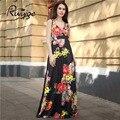 2017 RUIYIGE Sexy Dress Мода Печатные Старинные Цветочные Партия Пляж Туника Fit Длиной Макси Плиссе Свинг Boho Формальное Женщины Vestidos