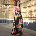 2017 ruiyige sexy beach party dress fashion impreso floral de la vendimia túnica fit largo maxi plisado columpio boho mujeres vestidos formales