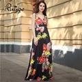 2017 ruiyige sexy beach party dress fashion impreso floral de la vendimia túnica fit largo maxi plisado columpio boho mujeres vestidos formales