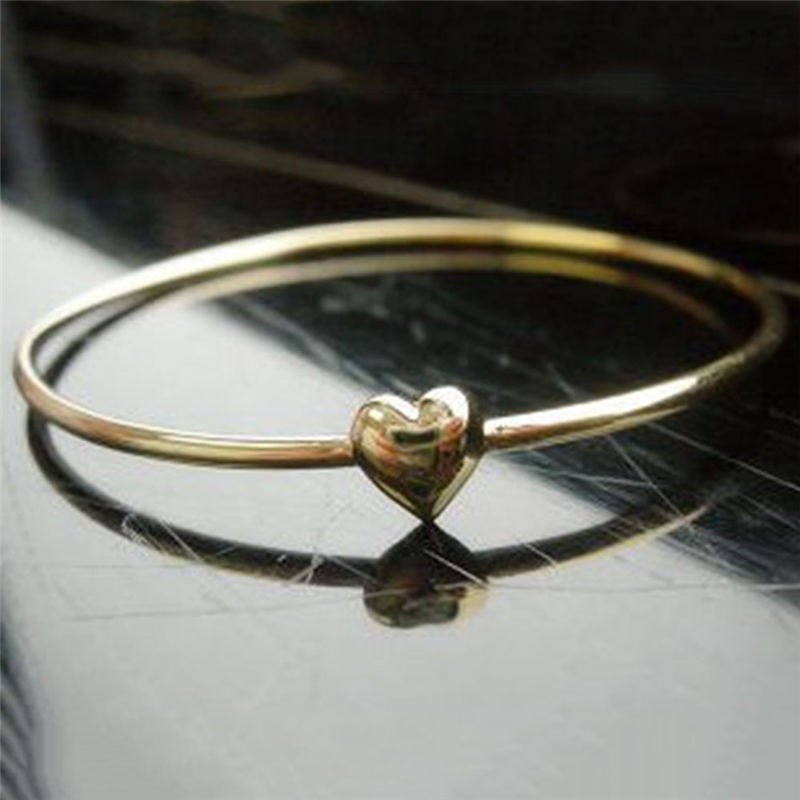 Simple Charm Heart Bangle for Women Love Gold Color Girls Ally Fashion Bracelets Bangles Girls Gift Jewelry