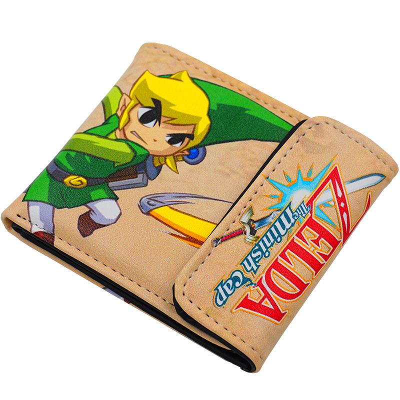 Japanese Anime The Legend of Zelda: The Minish Cap Link PU Short Purse Wallet Colorful Printing Type A zelda wallet bifold link faux leather dft 1857