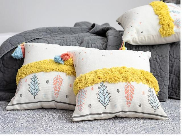 pillow covers for living room y sus partes 45x45cm unqiue creative cushion cover tassel case sofa tufted lady bedside nap pillowcase