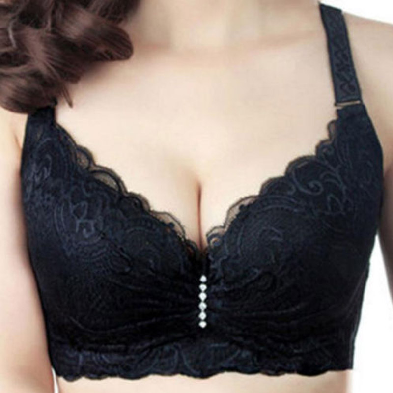 Murushe Ladies Big Size C D E 34 Cup Lace Push Up Bra Black Adjustable Bralette Deep V Women's Bras Underwear Lace Large Cup (23)
