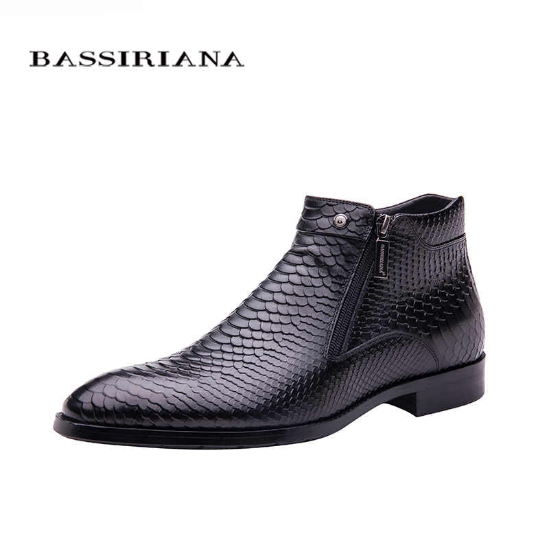 BASSIRIANA <b>brand</b> Quality Genuine leather winter boots <b>men</b> Warm ...