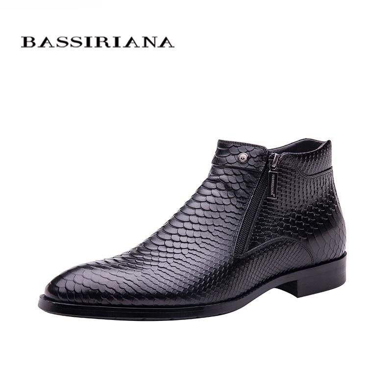 BASSIRIANA nouveau mode hommes chaussures cheville bottes Brun noir pleine fleur en cuir bout rond Grand siz 39-45 Livraison gratuite