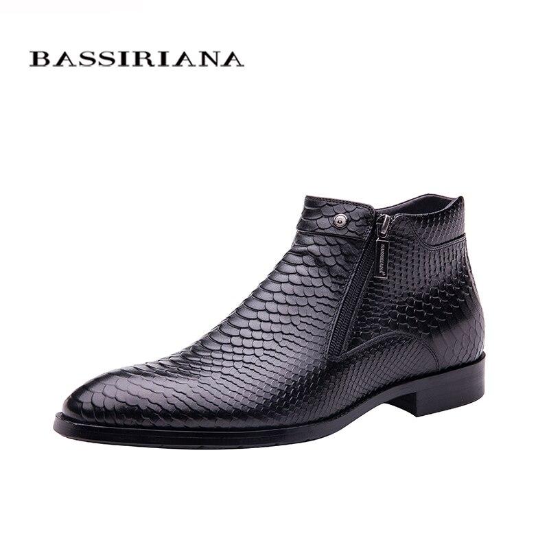 BASSIRIANA new 2017 fashion men shoes Lace-up Brown black Full grain leather round toe Big siz 39-45 Free shipping