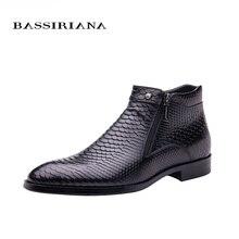 BASSIRIANA nuevo 2017 moda hombre zapatos con cordones negro Marrón de cuero de grano Completo de punta redonda Grande siz 39-45 El Envío libre