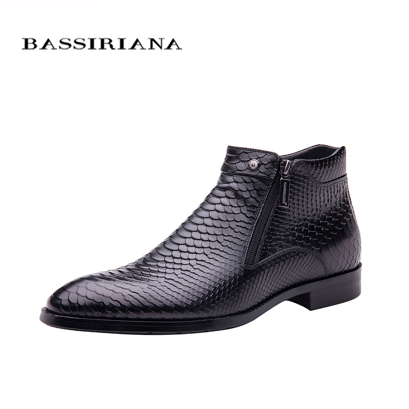 BASSIRIANA new fashion men shoes ankle boots Brown black Full grain leather round toe Big siz 39 45 Free shipping