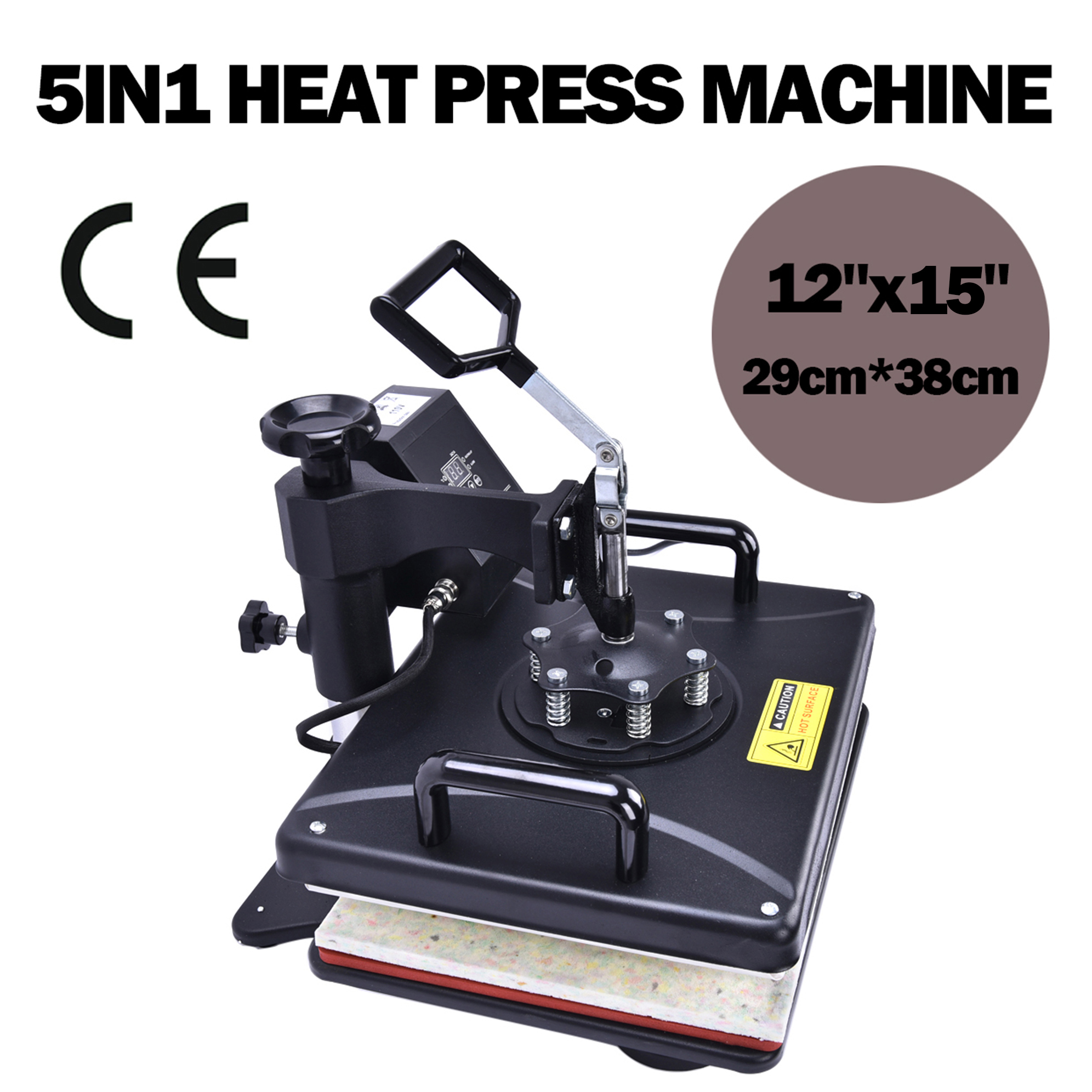 5 in 1 Swing Heat Press Machine Digital T-shirt Heat Transfer 12