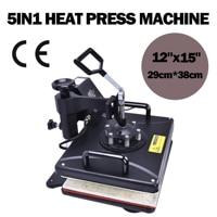 5 in 1 Swing Heat Press Machine Digital T shirt Heat Transfer 12 x 15 Sublimation Transfer Machine for Mug Cap Hat Plate Print