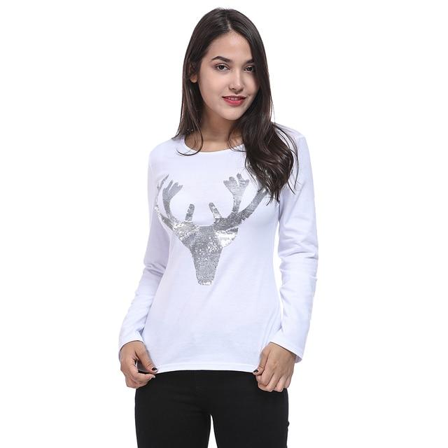 elk deer t shirt 2018 autumn long sleeve womens t shirt fashion christmas t