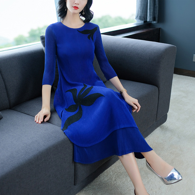 Bleu bourgogne fuchsia Gratuite Paillettes Robe Trois marine Noir bleu Livraison cou De Mode Miyake Impression Stock Quarts En Fold D'o rouge UR4HxBdw