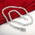 "2015 New Fashion 925 Silver Interweave Long Necklace Chain For Men 20"" Length Chain Mens Jewelry colgantes hombre N048"