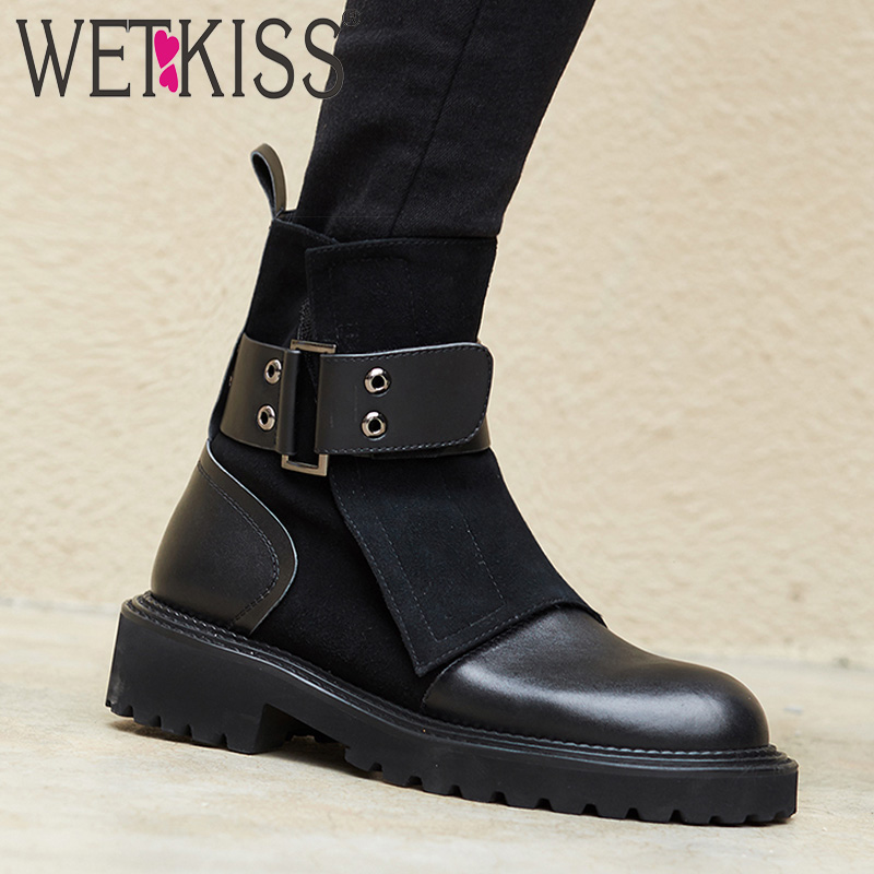 WETKISS Genuine Leather Women Ankle Boots Square Toe Flock Footwear Motorcycle Female Boot Platform Army Shoes