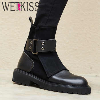 WETKISS Genuine Leather Women Ankle Boots Square Toe Suede Footwear Motorcycle Female Boot Platform Army Shoes Woman Winter 2020 - DISCOUNT ITEM  45% OFF All Category