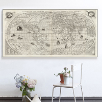Single Wall Art The World Map Oil Painting On Canvas Prints Europe Vintage Picture For Living