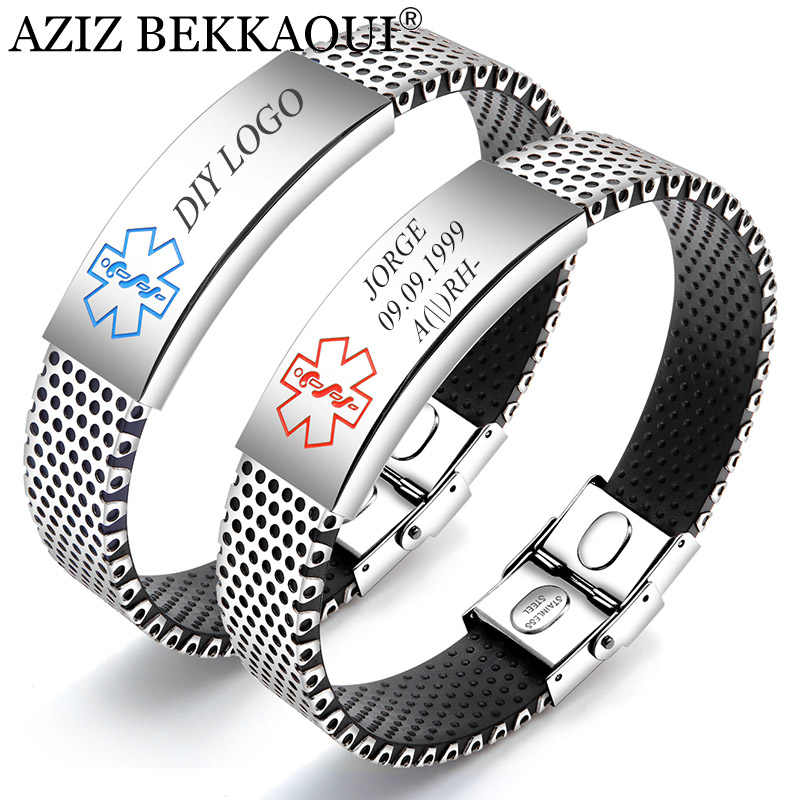 AZIZ BEKKAOUI Engraving Medical Alert ID Identification Bracelet for Men Women Silicone Stainless Steel Emergency Remind Jewelry