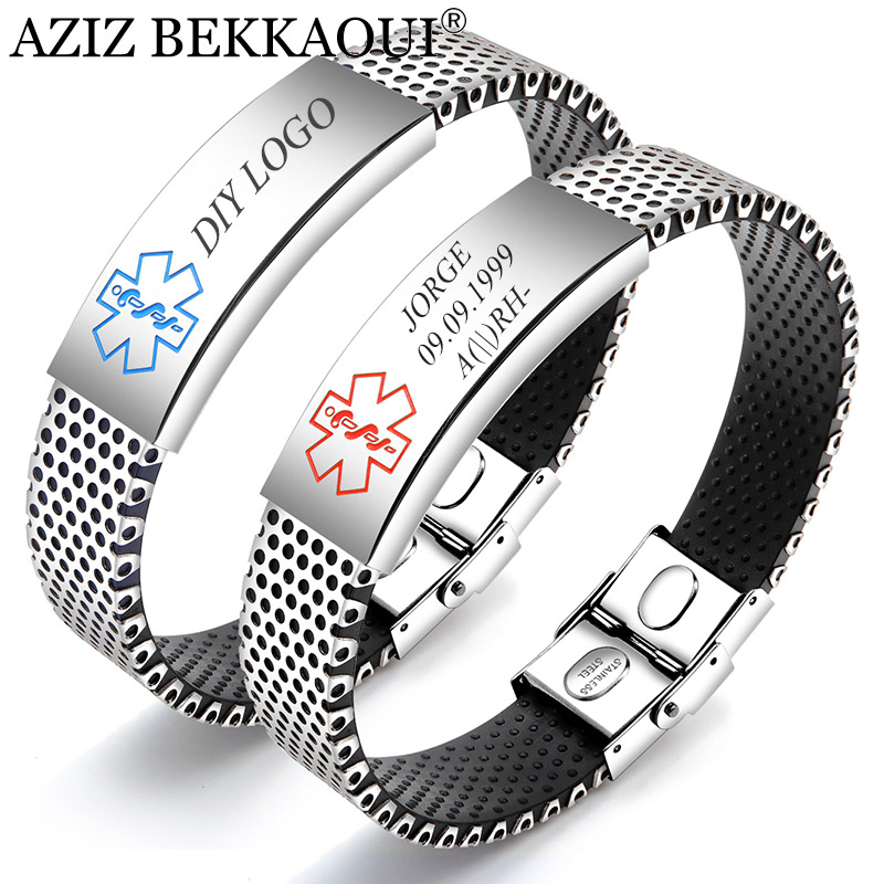Aziz Bekkaoui Engraving Medical Alert Id Identification Bracelet For Men Women Silicone Stainless Steel Emergency Remind Jewelry