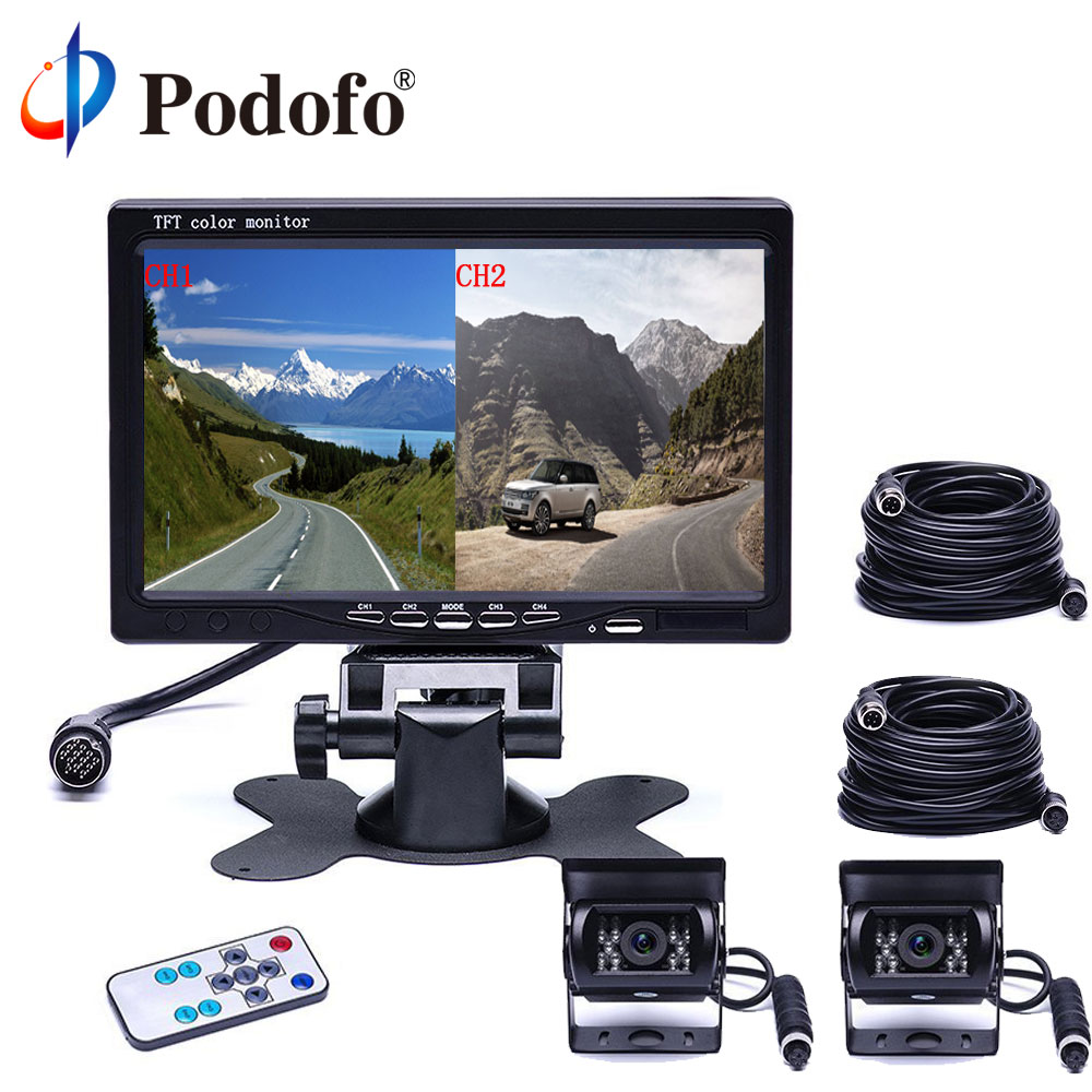 Podofo 7 Split Screen Car Monitor 4CH Video Input Parking Dashboard With Night Vision Backup Camera Car-styling Remote Control