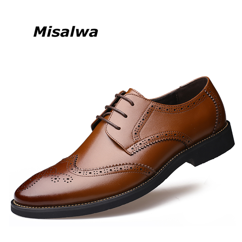 Misalwa New Arrival Italian Men Brogue Shoes Men Formal Dress Oxfords British Men Leather Shoes Dropshipping hot sale luxury brand men classic oxfords italian mens leather dress shoes new men formal shoes black white patch flowers 39 46