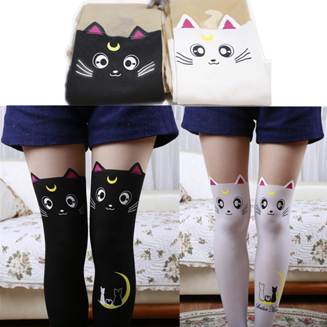 e4f7867006395 Sailor Moon Cat Luna Stockings Socks Pantyhose Anime Cosplay Props Black  White