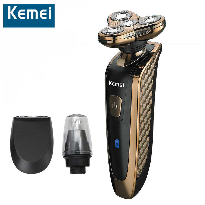 Kemei 363 Electric Shaver Rechargeable Washable 4 Heads Razor 3 in 1 Blade Shaving Razors Men Face Care 4D Floating Trimmer kemei 3 in1 363 washable 4 heads electric razor rechargeable electric shaver four blade shaving razors men face care 5d floating