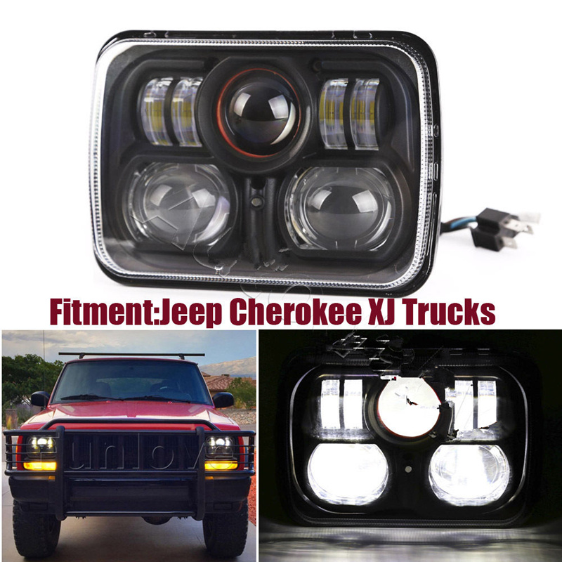 New Square Pair 7x6 Led Headlights H4 Light For Jeep