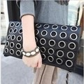 2016 Hot Punk Style Long Fold Over Female Clutches Vintage Rivet Chain Black Women Day Clutch for Party Women's Cross Body Bag