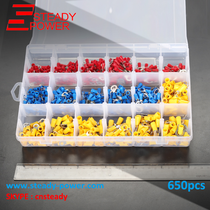650Pcs Assorted Insulated Ring Crimp Terminal 0.5-4.0mm 2 Assorted Electrical Wire Connector Set Red Blue Yellow 22-10AWG 570pcs lot terminales wire connector awg 570pcs lot assorted 9 value bootlace ferrule electrical crimp terminal
