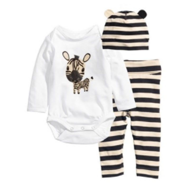 3PCS Baby Cotton Romper Set Infant Newborn Boys Girls Cartoon Animal Costume Clothing Sets Cute Jumpsuit +Hat+Pants Barboteuse he hello enjoy baby rompers long sleeve cotton baby infant autumn animal newborn baby clothes romper hat pants 3pcs clothing set