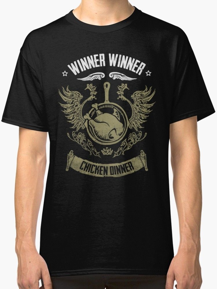 WINNER WINNER CHICKEN DINNER Men's T Shirt Black T-Shirts 2018 Brand Clothes Slim Fit Printing Interesting Pictures image