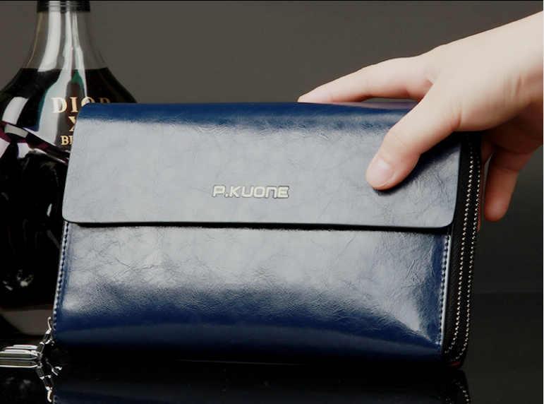 42fbeddd0fd P.KUONE men s clutch Bag Genuine Leather handbag Double Layer Business day clutches  wallets men