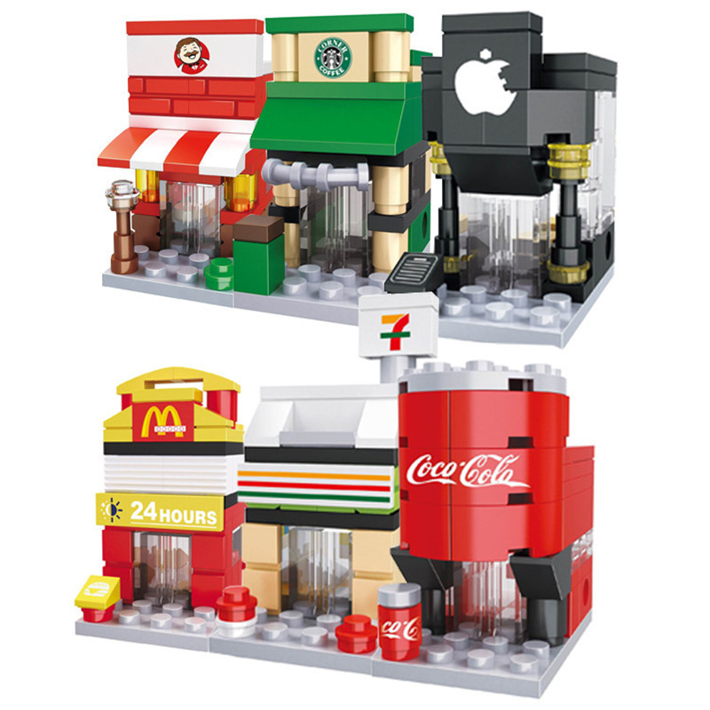 Mini Street City 3D Model Blocks Retail Store Shop McDonald Cafe Apple Architecture Clas ...