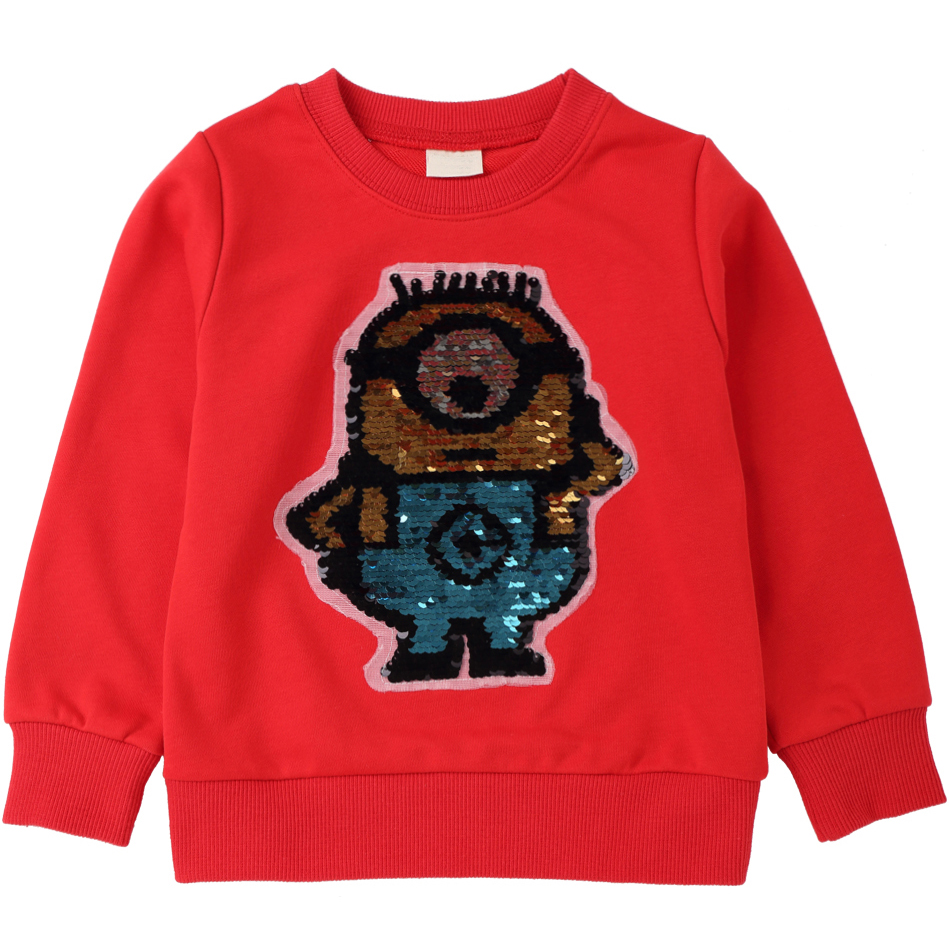 Sequins Cartoon Pattern Sweatshirts for Children Long Sleeve Tops boys T-shirts Girls Pullover Blouse Kids Clothes Autumn 2018