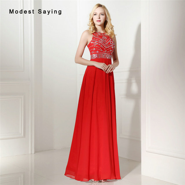 Sexy Red A-Line Beaded Evening Dresses 2017 with Rhinestone Formal  Engagement Long Party Prom Gown vestido longo de festa 0643 8331377a4b50