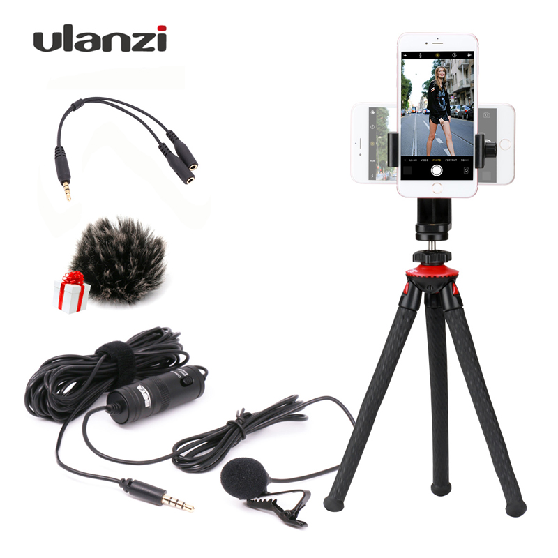 Boya BY-M1 6m Label Lavalier Condenser Microphone 3.5mm with Octopus Tripod for iPhone Smartphones Dslr/Recorder/Camcorders dicsong dm 10 condenser microphone with tripod