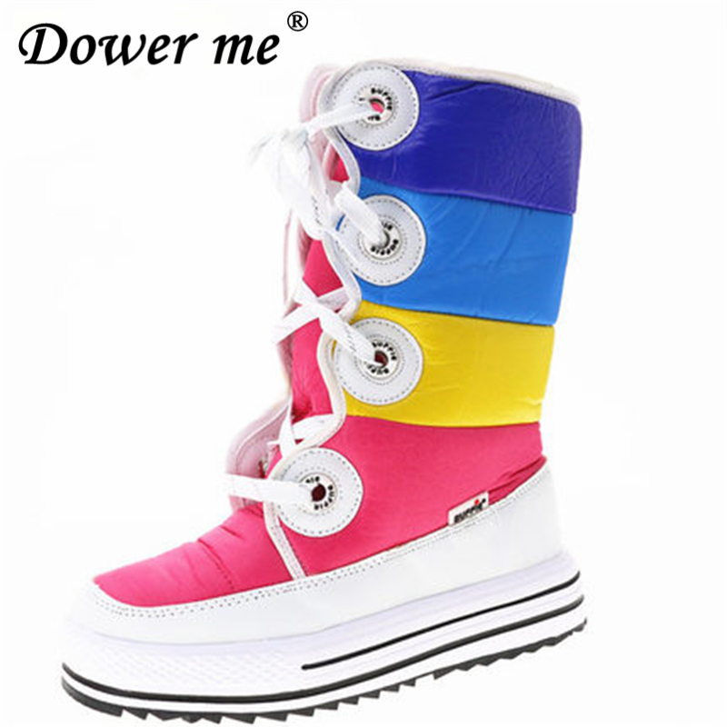 Top quality Rainbow color Thickened inner lining lady boots big Size female High boots Winter Warm Boots Woman Snow Boots 36-41 2017 female warm snow boots large size 41 cotton winter shoe for woman soft comfortable outdoor footwear high quality