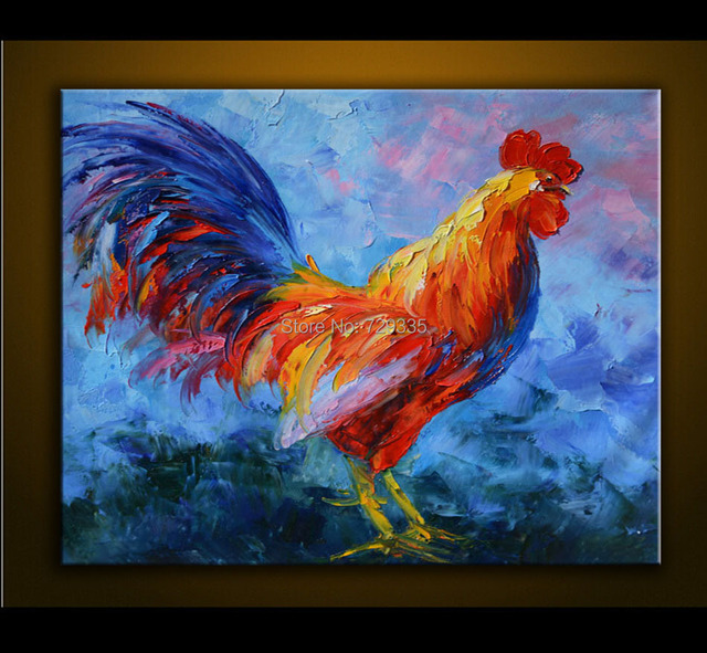 Acheter peint la main peinture l 39 huile sur toile color e de poulet animal for Peinture moderne