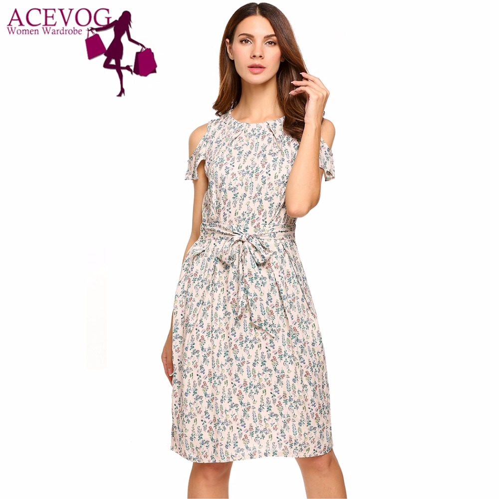 ACEVOG Women Vintage Dress Cold Shoulder 2017 Top Summer Ruffles Short Sleeve Floral Print Casual Dresses Vestidos With Belt