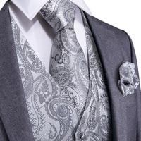 DiBanGu Silver Paisley Top Design Wedding Men 100%Silk Waistcoat Vest Ties Hanky Cufflinks Cravat Set for Suit Tuxedo MJTZ-103