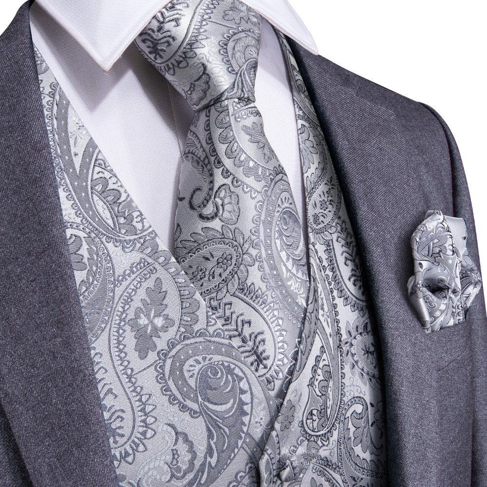 DiBanGu Silver Paisley Top Design Wedding Men 100%Silk Waistcoat Vest Ties Hanky Cufflinks Cravat Set For Suit Tuxedo MJTZ-103