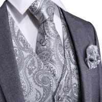 DiBanGu Silver Paisley Top Design Wedding Men 100%Silk Waistcoat Vest Ties Hanky Cufflinks Cravat Set for Suit Tuxedo MJTZ 103