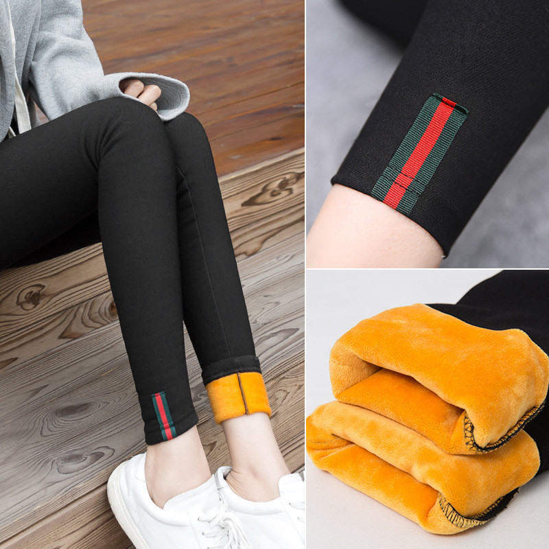 High waist Women thicken Pencil Pants Skinny Pants Plush Velvet slim Trousers Winter New Female Warm Leggings high waist Pants