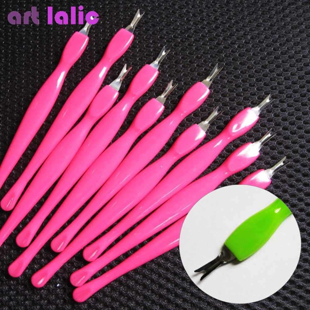 NEW ARRIVAL 10 Pcs Professional Full Size Cuticle Pusher Trimmer Pedicure Nail Art Toe Manicure Plastic Hot Pink/ Green
