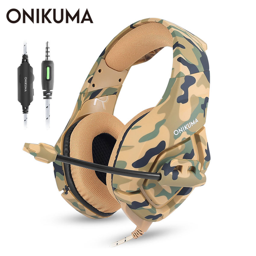 ONIKUMA K1 Casque PS4 Gaming Headset with Mic Camouflage Noise-cancelling Headphones for PC Cell Phone New Xbox One Laptop onikuma k5 stereo gaming headset wired led bass noise cancelling headphones with mic microphone for computer game pc ps4 laptop
