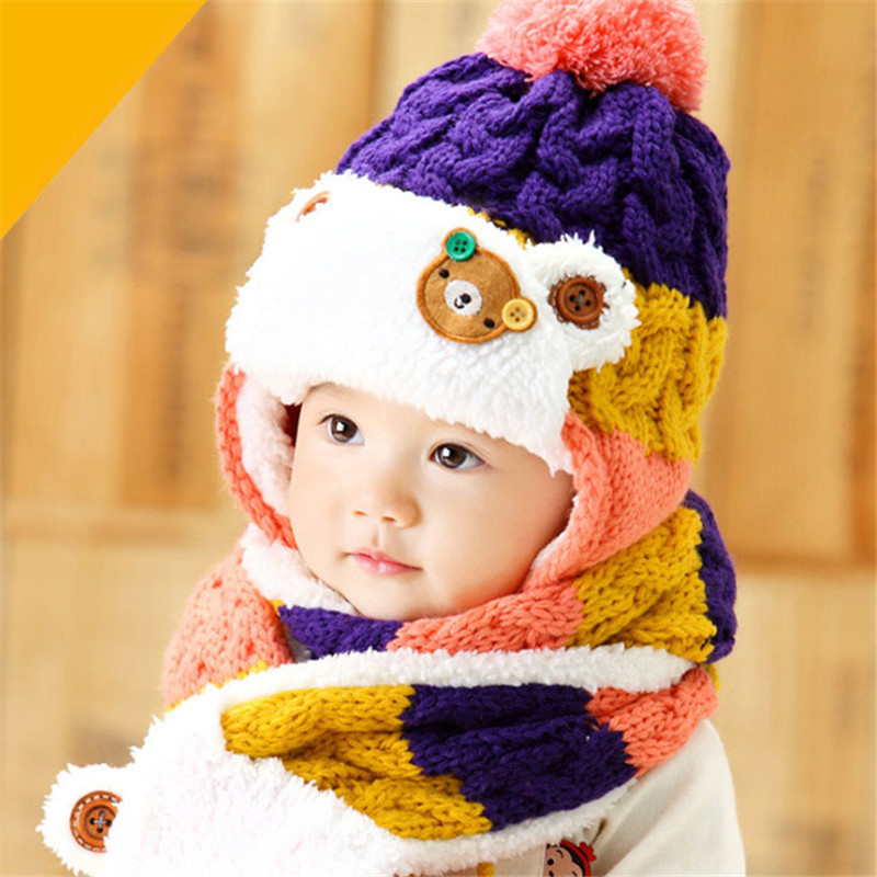 Cap Colorful Baby Kids Cute Bear Crochet 3 Colors Knitted Hats Winter Warm Beanie Cap With Scarf For 6 Months To 4 Years Child