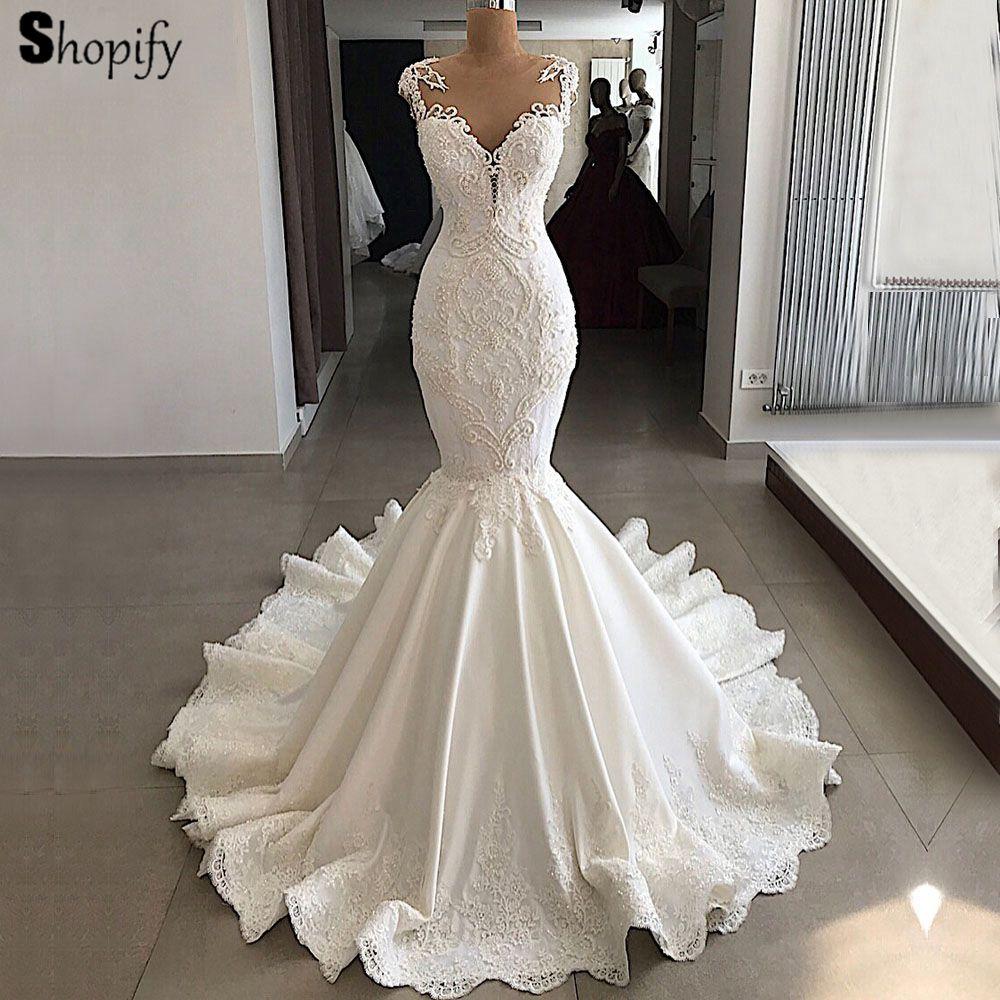 16041 Vestidos De Novia De Sirena Romántica 2019 Sexy Transparente Con Cuentas De Encaje Novia Real Arabia Saudita Marfil Vestido De Novia In