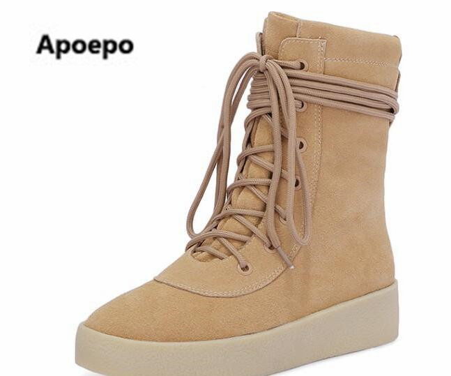 Apoepo 2017 Women winter boots black beige ankle boots for wome lace up Thick Bottom Design Women Shoes Riding shoes cheap price